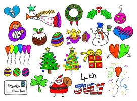 Mixed Holiday Doodles vector