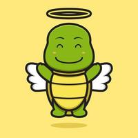 Cute angel turtle mascot character with happy face cartoon vector icon illustration