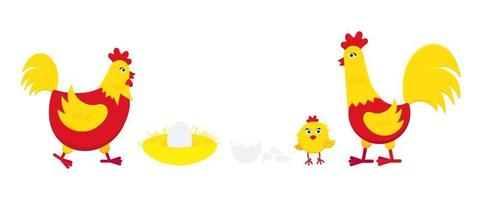 Yellow and red chicken with broken egg, nest, rooster cock and little chick flat style design vector illustration