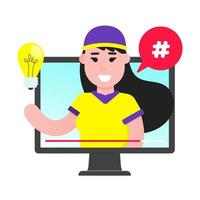 Female young boy blogger on the video screen Social media videoblogging do some content on the video site flat style design vector illustration isolated on white background Social marketing tutorial