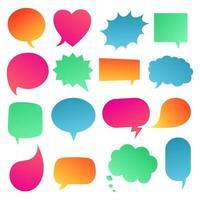 16 burbujas de discurso diseño de estilo plano degradado otras formas sin textos conjunto de estilo de dibujos animados cómico dibujado a mano ilustración vectorial aislado sobre fondo blanco rectángulo de corazón cuadrado de nube redonda vector