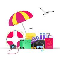 Time to travel summer beach holiday vacation poster or banner flat style design vector illustration concept isolated white background Text island beach hat luggage suitcase passport tickets signs