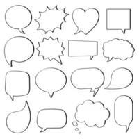 Diseño de estilo plano de 16 burbujas de discurso otras formas sin textos estilo de dibujos animados cómicos dibujados a mano conjunto ilustración vectorial aislado sobre fondo blanco. formas redondas, de nubes, cuadradas, de corazón, rectangulares, etc. vector