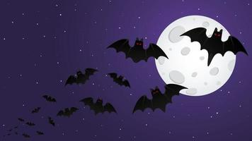 Night sky with stars happy halloween background with flying animal bats vector