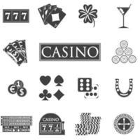 iconos de casino y juegos de azar con máquinas tragamonedas y ruleta, fichas, cartas de póquer, dinero, dados, monedas, ilustración de vector de diseño plano de herradura.