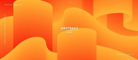 Orange 3D Fluid Wave Shape Abstract Liquid Background. vector