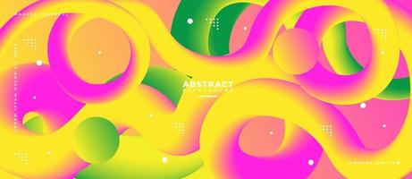 3D Green Yellow and Pink Fluid Wave Shape Abstract Liquid Background. vector