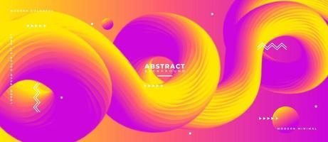 Fluido de onda amarilla y magenta 3d y forma de fondo líquido abstracto. vector