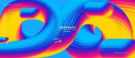 3D Blue and Multicolor Fluid Wave Shape Abstract Liquid Background. vector
