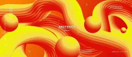 3D Yellow and Red Blend Fluid Wave Shape Abstract Liquid Background. vector