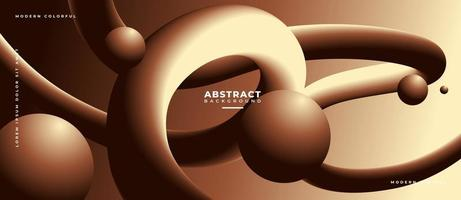 3D Chocolate Fluid Wave Shape Abstract Liquid Background. vector