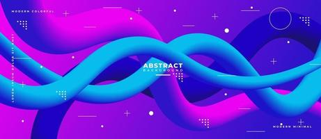 3D Magenta and Blue Fluid Wave Shape Abstract Liquid Background. vector