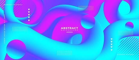 Magenta and Blue Blend 3D Fluid Wave Shape Abstract Liquid Background. vector