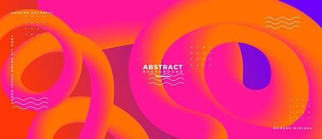 3D Orange and Magenta Fluid Wave Shape Abstract Liquid Background. vector
