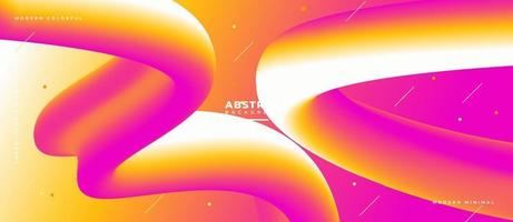 3D Magenta Yellow and White Fluid Wave Shape Abstract Liquid Background. vector