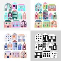 Set of cartoon colorful houses vector