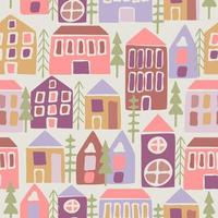 Seamless pattern with cartoon houses vector