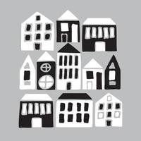 Cartoon black and white houses vector