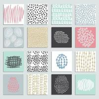 Set of 16 creative pastel cards vector