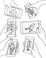 Set of hands with mobile phone smartphone and tablet vector