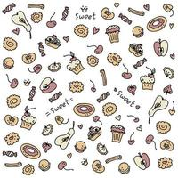Cartoon style doodle pattern of sweet muffins and donuts vector
