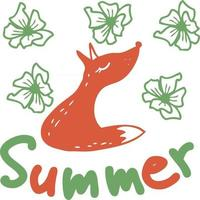 Drawing cute red fox in flowers vector
