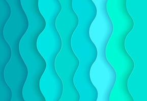 Abstract green, soft blue wave layers with drop shadows in paper cut style. Modern trendy gradient curve background. Origami design template. Vector illustration