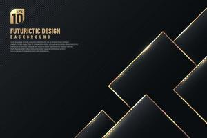 Luxury black design artwork with golden edge geometric plate pattern decoration. Abstract banner design. You can use for cover template, poster, banner web, flyer, Print ad. Vector illustration