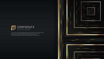 Abstract luxurious black background with golden  geometric line. Elegant modern design with copy space. You can use for cover brochure template, poster, banner web, print ad, etc. Vector illustration