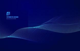 Abstract dot particle of blue design element on dark background. Technology futuristic concept. Vector illustration