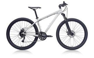 White mountain bike isolated on white background photo