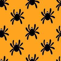 Seamless spider silhouette pattern on orange background. Halloween pattern. Design for Halloween. Vector flat illustration.