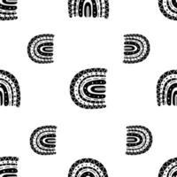 rainbow seamless pattern. black amd white seamless pattern vector