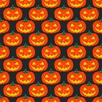 Seamless Halloween pumpkin pattern with carved faces on a black background. Design for Halloween and thanksgiving. Hand-drawn vector illustration