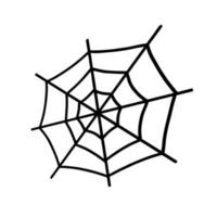 Web isolated on a white background. Web for Halloween, a scary, ghostly, spooky element for design on Halloween. Vector illustration in Doodle style