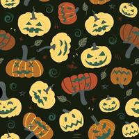 Seamless pumpkin pattern with autumn leaves on a black background. Halloween pattern.Design for Halloween party invitations, printed products, banners, textiles vector