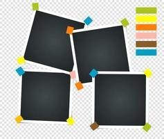 conjunto de marco de fotos vintage vacío con cinta adhesiva. maquetas fotorrealistas. plantilla retro para tus fotos. ilustración - vector