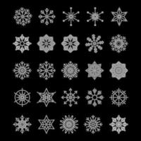 Icon set of snowflake isolated on a white background Trendy outline symbols Merry Christmas Happy New Year Winter vector