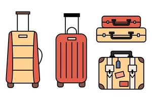 Luggage icons set and collection. Backpack, handbag, suitcase, briefcase, messenger bag, trolley, travel bag. thin line icons. Editable stroke icon. Vector illustration.