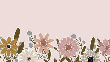 Horizontal backdrop decorated with blooming flowers and leaves border. Abstract art nature background vector. Trendy plants frame. flower garden. Botanical floral pattern design for summer sale banner vector