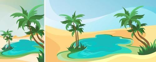 paisaje de oasis en el desierto. paisaje en diferentes orientaciones vector