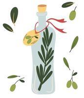 Glass bottle with olive oil. Olive fruit, branches tree and olive oil bottle. Vegan diet. Perfect for cooking. Design elements for label, emblem, banner. Vector flat illustrations.