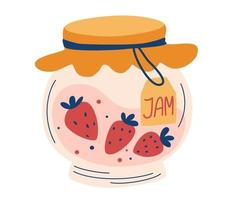 Strawberry jam in glass jar. Doodle of home cooking. Healthy Sugar Replacement. Homemade berry jelly cartoon icon. Clipart for decor, sticker, design, card, print. Vector flat illustrations.