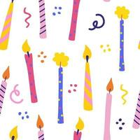 Birthday candles seamless pattern. Presents and gifts festive wrapping paper. Celebration, greeting postcard backdrop. Colorful candles. Vector cartoon illustration