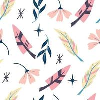 Seamless pattern with feathers. Wallpaper in boho style. Indian aztec geometric feathers  and flowers background. For wallpaper, web page background, greeting cards, fabric printing. Vector