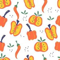 Seamless pattern with peppers. Red, pepper slices, chili and bell peppers background. Vegetarian healthy food. Vibrant print for menu or food design. Vector illustration in cartoon style