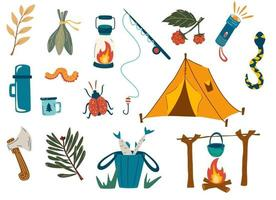 Camping and hiking set. Outdoor recreation, fishing, hiking in the forest. For scrapbooking, craft projects, posters, tags, sticker. Fishing rod, tent, fire, insects, branches, flashlight, axe. Vector