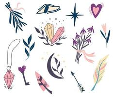 Set of magic plants and symbols. Moon, flowers, Eye, Crystals, herbs, Feathers. Hand drawn illustrations for tattoo, textile, cards, Halloween decor. Vector illustration in cartoon style