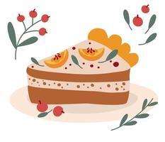 Sweet piece of pumpkin pie. Cartoon farm harvest festival. Traditional American dessert is a Thanksgiving Day. Design for Holidays invitation card, poster, banner, postcard, print. Vector illustration