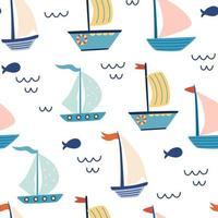 Seamless pattern with sailing boats. Marine background. Cute marine pattern for fabric, children's clothing, background, textiles, wrapping paper and other decorations. Vector cartoon illustration